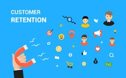 Web design plat de vecteur de conservation de client Concept de conservation de stratégie marketing de cible illustration stock
