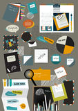 Web design portfolio elements. Collection of color stickers, speech bubbles, text message, icons, hand drawn shapes. Info graphic components for print or web Royalty Free Stock Photo