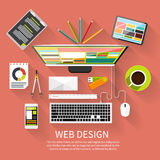 Web design. Program for design and architecture. Web design concept. Computer monitor with the screen of the program for design and architecture in flat design Royalty Free Stock Photo
