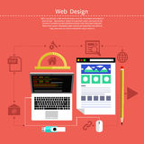 Web design. Program for design and architecture. Web design concept. Laptop monitor with the screen of the program for design and architecture in flat design Royalty Free Stock Photography