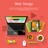 Web design. Program for design and architecture. Web design concept. Laptop monitor with the screen of the program for design and architecture in flat design Stock Image