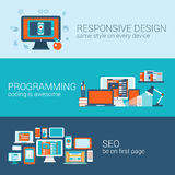 Web design programming SEO concept flat template set vector. Web design programming SEO concept flat web banners template set. Responsive style css coding php