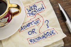 Web design question. Adaptive or responsive web design choice - a napkin doodle with a cup of espresso coffee Stock Photos