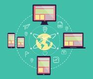 Web design rispondente in apparecchi elettronici Colleghi la rete sociale illustrazione di stock