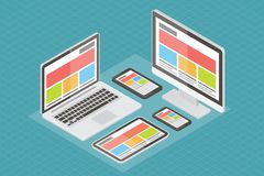 Web design rispondente, materiale informatico, 3d illustrazione vettoriale