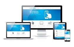 Web design rispondente moderno evolutivo e flessibile Immagine Stock