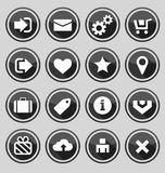 Web design round buttons black set Royalty Free Stock Photo