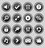 Web design round buttons black set 2 Royalty Free Stock Image