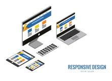 Web design sensible, matériel informatique, développement d'applications et construction de page Photo stock
