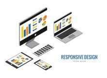 Web design sensible, matériel informatique, développement d'applications et construction de page Image stock