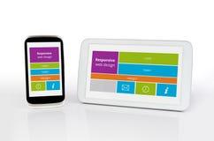 Web design sensible sur des périphériques mobiles Photographie stock libre de droits