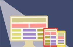 Web design sensible sur le style plat d'écran moderne  Photos stock