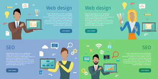 Web Design, SEO Infographic Set. Web design, SEO infographic concept set. Man and woman with laptop presents new web design on background with communication and Royalty Free Stock Photo