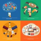 Web design, seo, media social, achats en ligne illustration stock