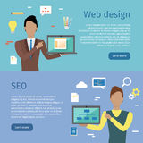 Web Design, SEO Vector Web Banners in Flat Style Stock Images