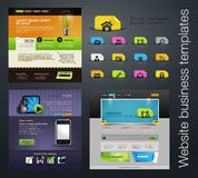 Web design set +bonus icons. Vector Web design set with lorem ipsum text. You can use this modern designs for your web projects. As a bonus, you get an icon set Stock Image