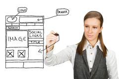 Web design sketch. Businesswoman drawing web design sketch