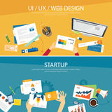 Web design and startup concept flat design Royalty Free Stock Image