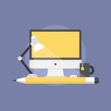 Web design studio flat icon illustration. Designer workplace, web design studio agency development process with modern desktop computer. Flat icon modern design Stock Photo