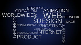 Web design tag word cloud animation - blue background stock video