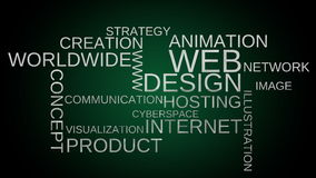 Web design tag word cloud animation - green background stock footage