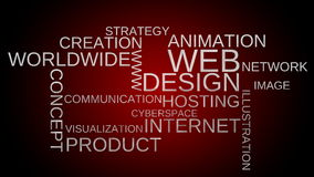 Web design tag word cloud animation - red background stock footage