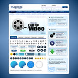 Web Design Template 10 Vector (Blue Theme) Royalty Free Stock Photo