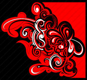 Web design template. Tribal art design in black and red contradiction Royalty Free Stock Photos