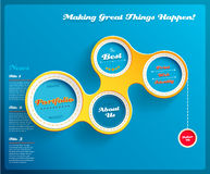 Web design template with circles on blue background. Royalty Free Stock Photo