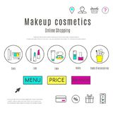 Web Design Template of Makeup and Cosmetics Online Shop royalty free illustration
