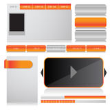 Web design template navigation elements: Navigation buttons with ornaments Royalty Free Stock Photo
