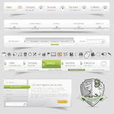 Web design template navigation set with icons set Royalty Free Stock Images