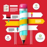 Web Design Template. Vector Infographic Layout. With Pencil on Red Background stock illustration