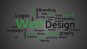 Web design terms appearing together stock footage