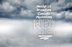 Web design terms written on sky background Stock Image