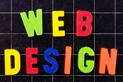 Web Design text with magnetic colorful letters on blackboard. Or chalkboard stock image
