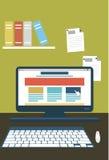 Web design, travail de Web, ordinateur, lieu de travail Photographie stock libre de droits