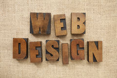Web design in wood type blocks Royalty Free Stock Photo