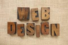 Web design in wood type blocks Royalty Free Stock Photo