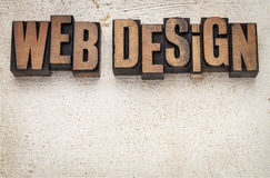 Web design in wood type Royalty Free Stock Images