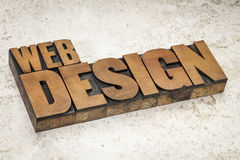 Web design in wood type Royalty Free Stock Image