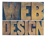 Web design word abstract in wood type Royalty Free Stock Images