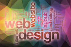 Web design word cloud with abstract background Stock Image