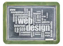 Web design word cloud on blackboard Stock Photography