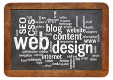 Web design word cloud on blackboard Royalty Free Stock Photo