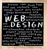 Web Design Word Cloud on Chalkboard stock photography