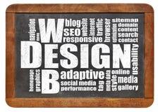 Web design word cloud. Web design concept - a word cloud on a vintage slate blackboard Royalty Free Stock Image