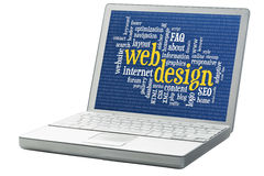 Web design word cloud. Web design and development word cloud with binary background on an isolated laptop Royalty Free Stock Image
