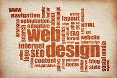 Web design word cloud - printing on canvas stock photos