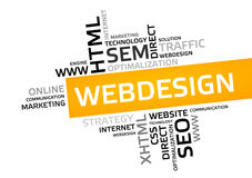 WEB DESIGN word cloud, tag cloud, vector graphic Royalty Free Stock Photos